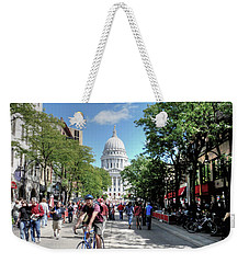 Heading To Camp Randall Weekender Tote Bag by David Bearden