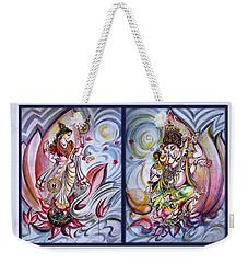 Healing Art - Musical Ganesha And Saraswati Weekender Tote Bag