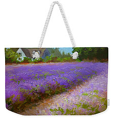 Impressionistic Lavender Field Landscape Plein Air Painting Weekender Tote Bag by Karen Whitworth