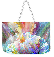 Weekender Tote Bag featuring the mixed media Healing Poppy With Butterflies by Carol Cavalaris