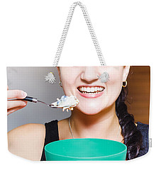 Healthy And Happy Woman Eating Morning Breakfast Weekender Tote Bag
