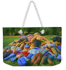 Weekender Tote Bag featuring the photograph Heap Of Scarecrows by Nikolyn McDonald