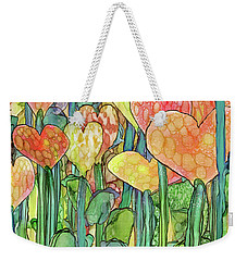 Weekender Tote Bag featuring the mixed media Heart Bloomies 2 - Golden by Carol Cavalaris