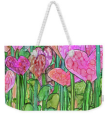 Weekender Tote Bag featuring the mixed media Heart Bloomies 2 - Pink And Red by Carol Cavalaris