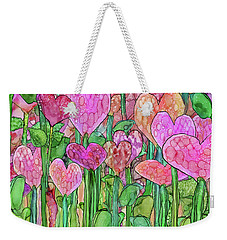 Weekender Tote Bag featuring the mixed media Heart Bloomies 3 - Pink And Red by Carol Cavalaris