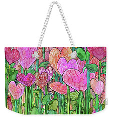 Weekender Tote Bag featuring the mixed media Heart Bloomies 4 - Pink And Red by Carol Cavalaris