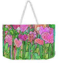 Weekender Tote Bag featuring the mixed media Heart Bloomies 1 - Pink And Red by Carol Cavalaris
