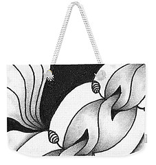 Weekender Tote Bag featuring the drawing Heart Connections by Jan Steinle