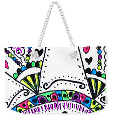 Weekender Tote Bag featuring the drawing Heart Hugs by Carole Brecht