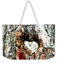 Weekender Tote Bag featuring the photograph Heart In The Tree by Kerri Farley