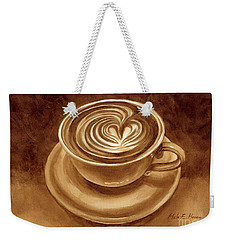 Weekender Tote Bag featuring the painting Heart Latte by Hailey E Herrera