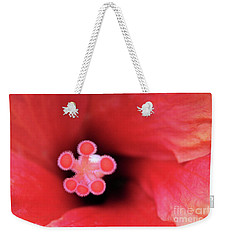 Weekender Tote Bag featuring the photograph Heart Of A Hibiscus by Victor K