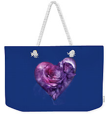 Weekender Tote Bag featuring the mixed media Heart Of A Rose - Lavender Blue by Carol Cavalaris