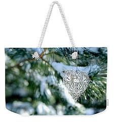 Heart Ornament On Snowy Pine Tree Weekender Tote Bag