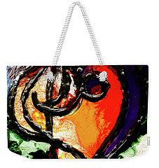 Weekender Tote Bag featuring the painting Heart Robin Treble by Genevieve Esson