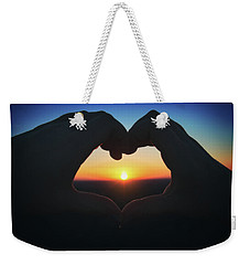 Weekender Tote Bag featuring the photograph Heart Shaped Hand Silhouette - Sunset At Lapham Peak - Wisconsin by Jennifer Rondinelli Reilly - Fine Art Photography