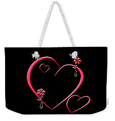 Weekender Tote Bag featuring the digital art Hearts And Flowers by Judy Hall-Folde