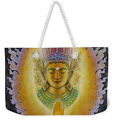 Weekender Tote Bag featuring the painting Heart's Fire Buddha by Sue Halstenberg