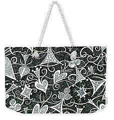 Hearts, Spades, Diamonds And Clubs In Black Weekender Tote Bag