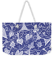 Hearts, Spades, Diamonds And Clubs In Blue Weekender Tote Bag by Lise Winne