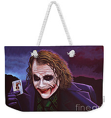 Heath Ledger As The Joker Painting Weekender Tote Bag by Paul Meijering