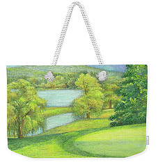 Weekender Tote Bag featuring the painting Heavenly Golf Course Landscape by Judith Cheng