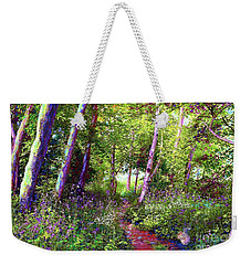 Weekender Tote Bag featuring the painting Heavenly Walk Among Birch And Aspen by Jane Small