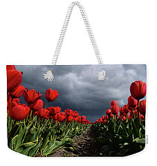 Heavy Clouds Over Red Tulips Weekender Tote Bag by Mihaela Pater
