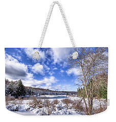 Weekender Tote Bag featuring the photograph Heavy Snow At The Green Bridge by David Patterson