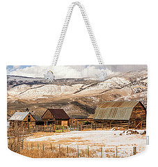 Heeney Road Barns And Snow Weekender Tote Bag
