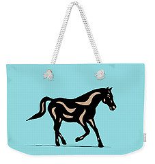 Heinrich - Pop Art Horse - Black, Hazelnut, Island Paradise Blue Weekender Tote Bag