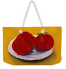 Weekender Tote Bag featuring the drawing Heirloom Tomatoes by Anastasiya Malakhova