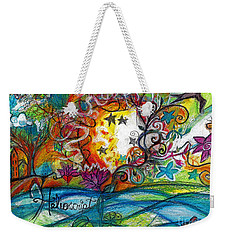 Weekender Tote Bag featuring the painting Helios And Ophelia Posterized by Genevieve Esson