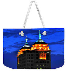 Hello Goodbye In Stormy Skies Atop The Liberty Building Weekender Tote Bag
