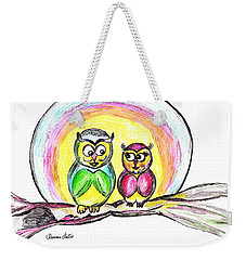 Weekender Tote Bag featuring the drawing Hello Moonlight  by Ramona Matei