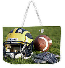 Helmet On The Field With Football And Gloves Weekender Tote Bag