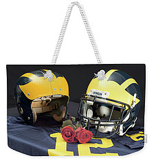 Helmets Of Different Eras With Jersey And Roses Weekender Tote Bag