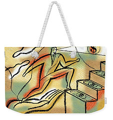 Weekender Tote Bag featuring the painting Helping Hand And Money by Leon Zernitsky