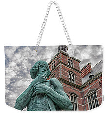 Weekender Tote Bag featuring the photograph Helsingor Train Station Statue by Antony McAulay