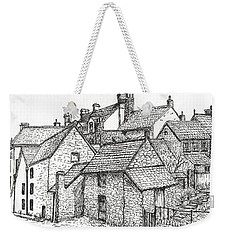 Weekender Tote Bag featuring the drawing Hemsley Village - In Yorkshire England  by Carol Wisniewski
