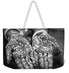 Henna Hands Black And White Weekender Tote Bag