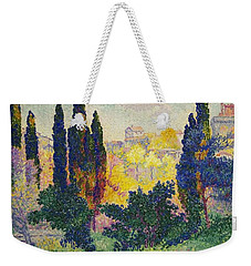 Weekender Tote Bag featuring the painting Henri Edmond Cross French Les Cypres A Cagnes by Artistic Panda