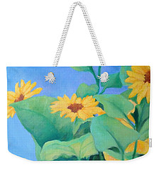 Her Sunflower Garden Original Oil Painting Of Sunflowers Weekender Tote Bag