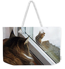 Weekender Tote Bag featuring the photograph Cat And Mouse by Roger Bester