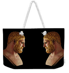 Weekender Tote Bag featuring the mixed media Hercules - Blondes by Shawn Dall