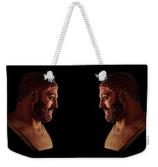 Weekender Tote Bag featuring the mixed media Hercules - Brunettes by Shawn Dall