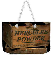 Weekender Tote Bag featuring the photograph Hercules Dynamite Crates by Chris Flees