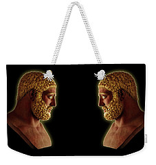 Weekender Tote Bag featuring the mixed media Hercules - Golden Gods by Shawn Dall