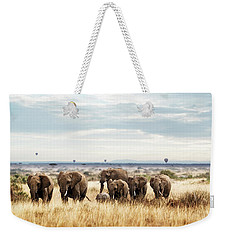 Herd Of Elephant In Kenya Africa Weekender Tote Bag