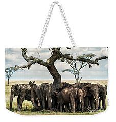 Herd Of Elephants Under A Tree In Serengeti Weekender Tote Bag